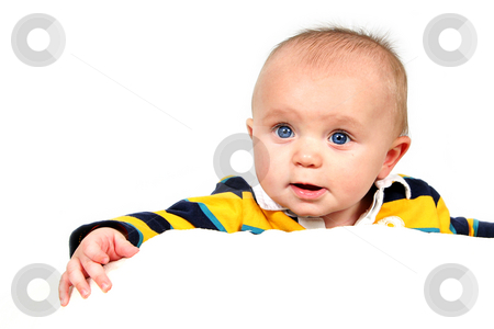 Closeup of Cute little baby boy stock photo, Cute little baby boy taken closeup and isolated on white by Melissa King