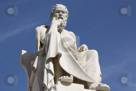 Statue of Socrates in Athens, Greece stock photo, Neoclassical statue of ancient Greek philosopher, Socrates, outside Academy of Athens in Greece by Brigida Soriano