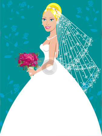 Wedding Gown 3 stock vector clipart, A beautiful blond woman on her wedding day. by Basheera Hassanali
