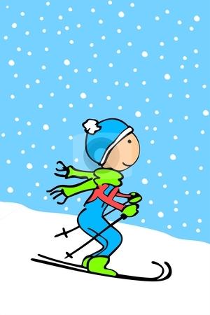 Cartoon kid skiing stock vector