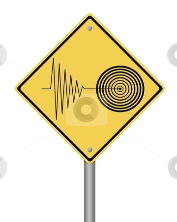 Warning Sign Tremor stock photo, Blank yellow tremor warning sign on white background by Henrik Lehnerer