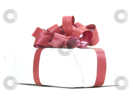 White Parcel Red Ribbon stock photo, White parcel with red ribbon isolated over white background by Superdumb