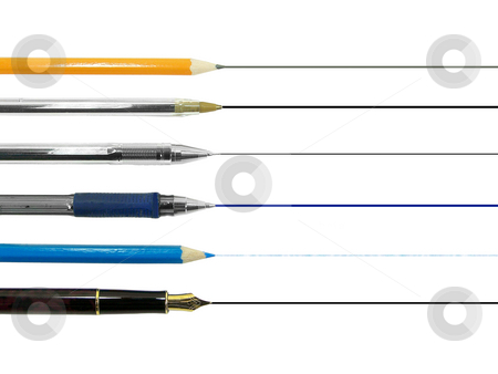 Tips stock photo, Different kind of writing tools isolated over white backgroind by Superdumb