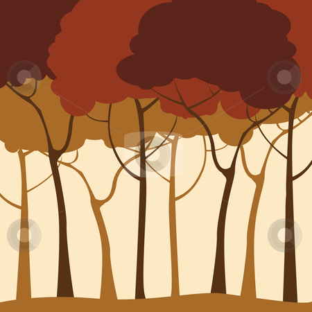 Forest background  stock vector clipart, Forest background in sepias by Richard Laschon