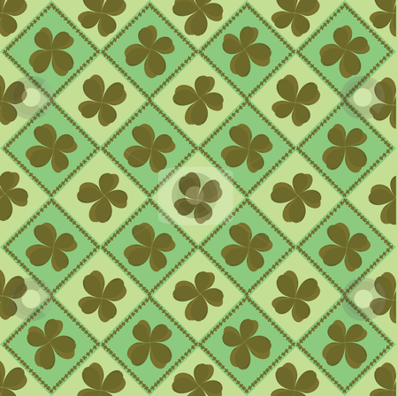 Background with clover stock vector clipart, Four leaf background for St. Patrick's Day by Richard Laschon