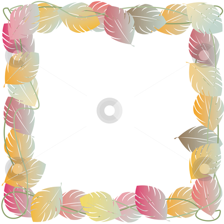 Autumn leaves frame stock vector clipart, Autumn leaves frame for photos or text by Richard Laschon