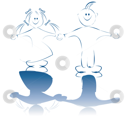 Boy and girl stock vector clipart, Boy and girl card by Richard Laschon