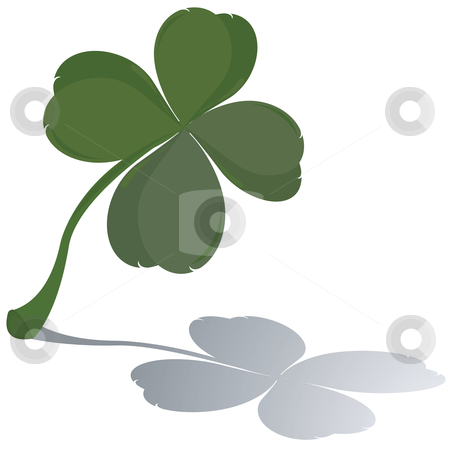 Fresh four leaf clover  stock vector clipart, Fresh four leaf clover with reflection by Richard Laschon