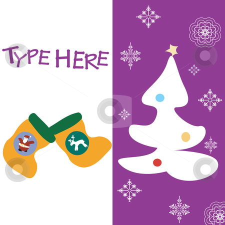 Christmas text card stock vector clipart, Christmas text card on violet background by Richard Laschon