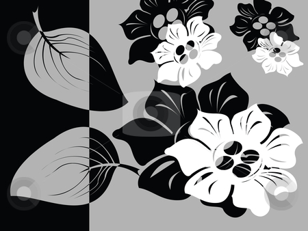 Black and white floral card stock vector clipart, Black and white floral card, vector illustration by Richard Laschon