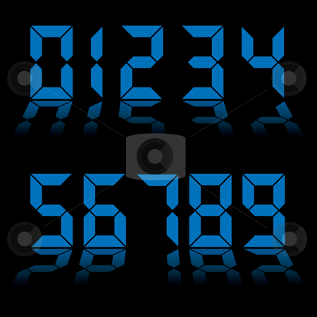 Digital numbers clock blue stock vector clipart, Collection of blue digital numbers as used on clocks and computers by Michael Travers