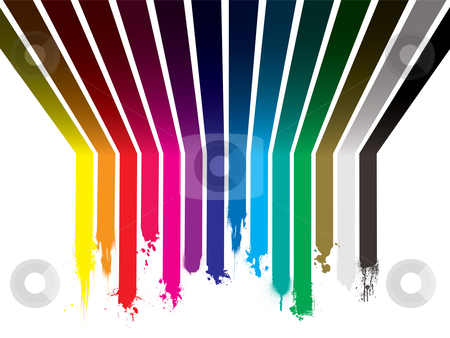 Rainbow paint dribble stock vector clipart, Bright colorful rainbow paint explosion with stripes painted across the wall and ceiling by Michael Travers