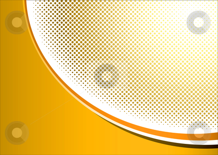 Halftone orange grunge stock vector clipart, Abstract halftone orange background with corner swirl and dots by Michael Travers