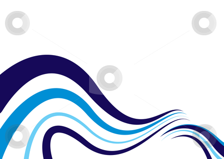Abstract blue wave stock vector clipart, Abstract blue ocean wave with breaking surf and copy space by Michael Travers