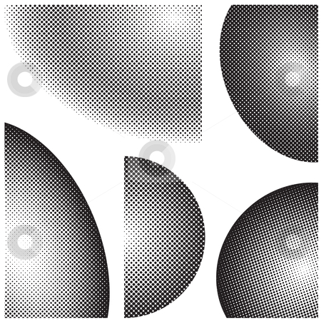 Black halftone elements stock vector clipart, Collection of halftone dots design elements in black and white by Michael Travers