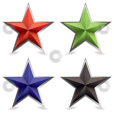 Metal bevel star shape stock vector clipart, Four star shaped icons with silver metal bevel and shadow by Michael Travers