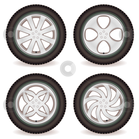 Car wheel collection stock vector clipart, Four car tires with alloy wheels of different designs by Michael Travers