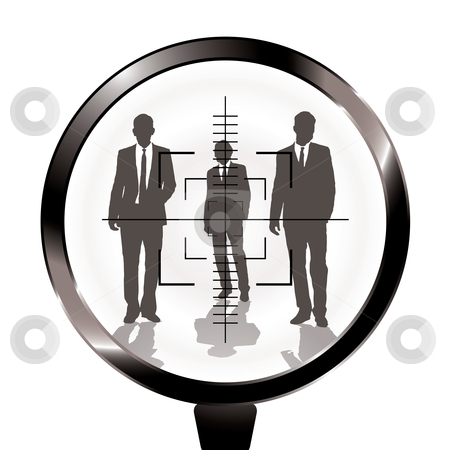Business men rifle target stock vector clipart, Three businessmen in a gun sight with shadow effect by Michael Travers