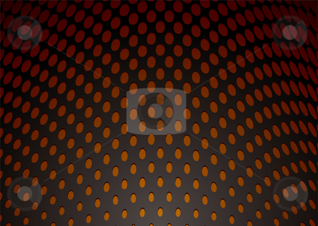 Metal hole punch background stock vector clipart, Abstract metal curve background with orange holes and shadow by Michael Travers