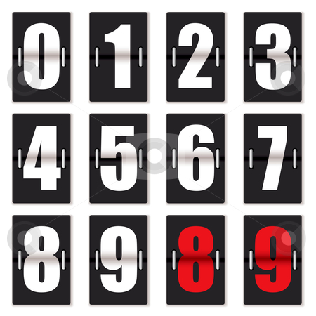Number clock counter black stock vector clipart, Old fashioned number counter with black background and red and white numbering by Michael Travers