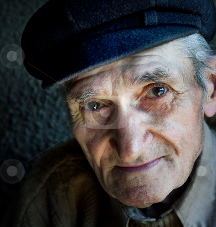 Artistic portrait of friendly senior old man  stock photo, Artistic portrait of friendly senior old male by Dunca Daniel