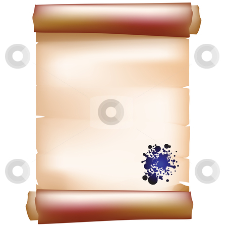 Paper scroll stock vector clipart, Realistic paper scroll with ink spots by Richard Laschon