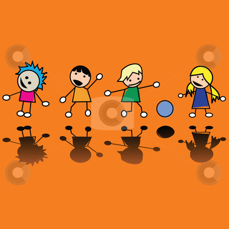 Children stock vector clipart, Happy children by Richard Laschon