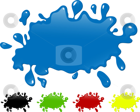 Several colors ink splash. - paint splatter stock vector clipart, Several colors ink splash. Editable Vector Image - paint splatter by AUGUSTO CABRAL