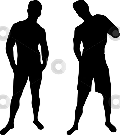 2 sexy men silhouettes on white background stock vector clipart, 2 sexy men silhouettes on white background. Editable Vector Image by gubh83