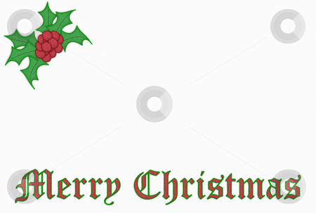 Christmas Embroidery stock photo, Christmas embroidery with writing and holly over white fabric by Superdumb