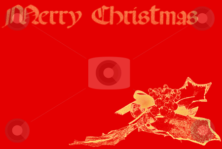 Red And Gold Merry Christmas stock photo, Red and gold Merry Christmas card with holly and writing by Superdumb
