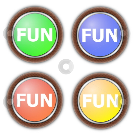 Fun button collection stock photo, Party fun button collection isolated on white background by Gunnar Pippel