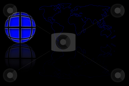 Blue World Globe And Map stock photo, Blue stylized world globe and map over black by Superdumb