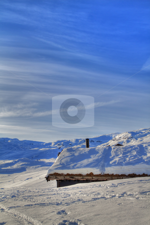 Snowy mountains stock photo, Snowed in cabin in the Norwegian mountains by Kjersti Jorgensen