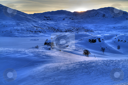 Snowy mountains stock photo, Winter landscape in the Norwegian mountains by Kjersti Jorgensen