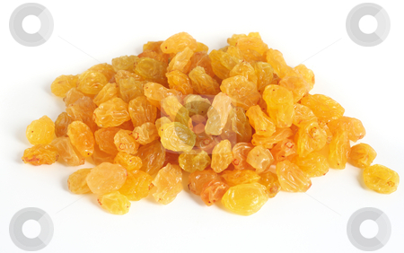 Golden raisins over white stock photo, A heap of golden raisins for baking, over a white background with light shadows by Paul Cowan