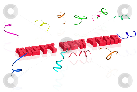 3d happy new year with confetti stock photo 3d happy new year with