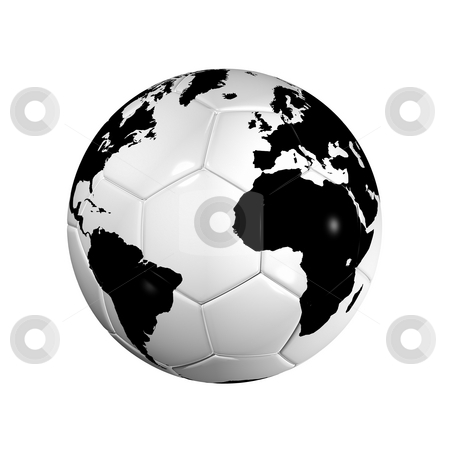 Soccer football ball World globe stock photo, 3D isolated Black and white soccer ball with world map, world football cup 2010 by Laurent Davoust
