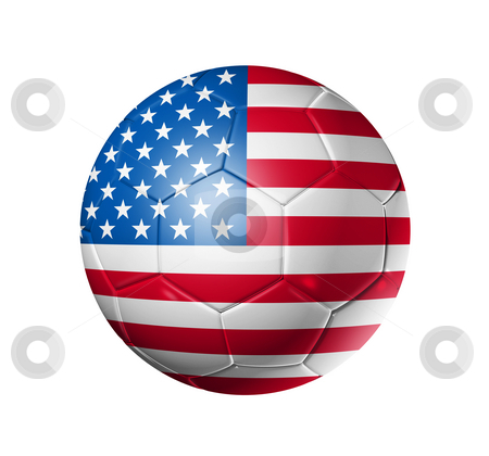 Soccer football ball with USA flag stock photo, 3D soccer ball with USA team flag, world football cup 2010. isolated on white with clipping path by Laurent Davoust