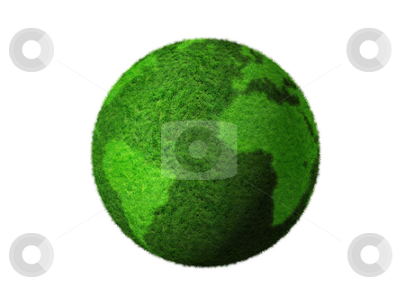 3D green grass globe stock photo, Grass earth globe isolated on white - three dimensional illustration by Laurent Davoust