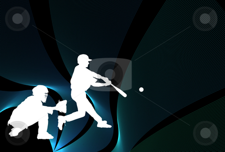 Baseball Wallpaper stock photo, Baseball illustration with players over black with lines by Superdumb 