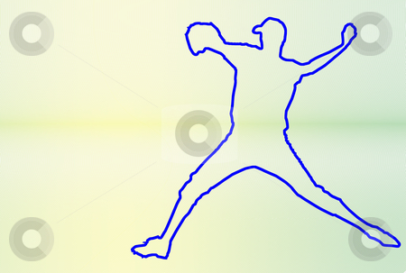 Baseball 4 stock photo, Baseball player silhouette over lines background by Superdumb 