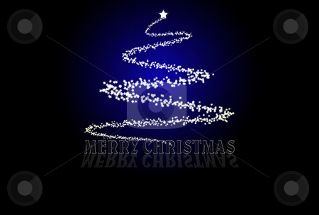 Blue Christmas Card stock photo, Blue Christmas card with tree made of stars by Superdumb