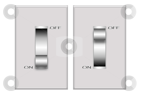 Switch stock photo, Illustration of a grey switch isolated over white background by Superdumb