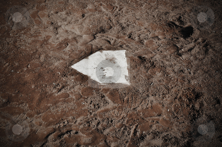 Baseball Home Plate stock photo, Baseball Home Plate Background with Dirt by Brandon Bourdages