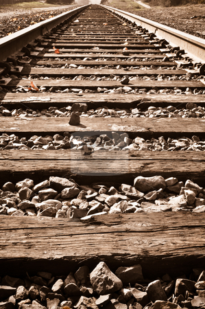 Vertical Railroad Track in Fall stock photo, Sepia Vertical Railroad Track in Fall by Brandon Bourdages
