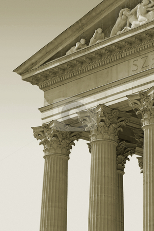 Old columns stock photo, Old columns and front facade details in sepia. by Dejan Lazarevic