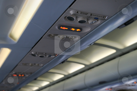 Airplane cabin ceiling stock photo, Airplane ceiling in a cabin by Laurent Davoust