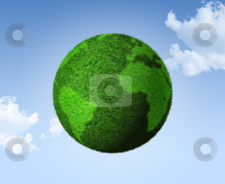 3D green grass globe on a blue sky stock photo, Grass earth globe on a blue sky - three dimensional illustration by Laurent Davoust