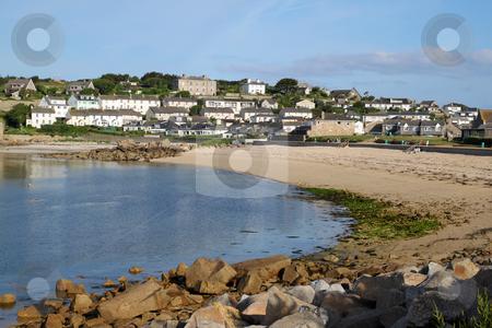 Porthcressa beach and Hugh Town, St. Mary's Isles of Scilly, Cornwall UK. stock photo, Porthcressa beach and Hugh Town, St. Mary's Isles of Scilly, Cornwall UK. by Stephen Rees